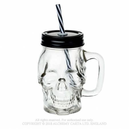 Glass Skull Drinking Jar