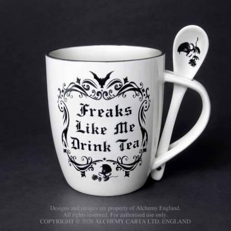 Freaks Like Me Drink Tea: Mug and Spoon Set