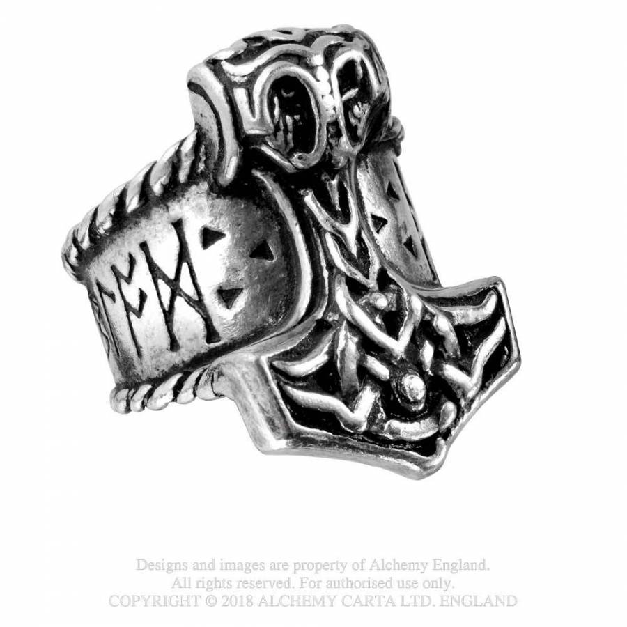 Alchemy Gothic Mens Ring Pewter Runeband Norse Ancient Viking Jewellery