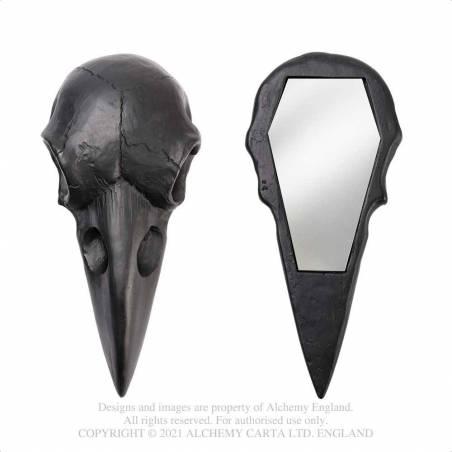 Raven Skull Hand Mirror - Black