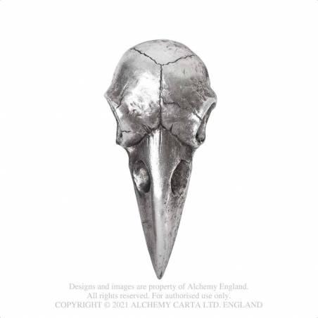 Raven Skull Hand Mirror - Antique Silver